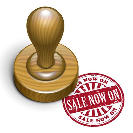 rubberstamp: illustrazione del grunge timbro di gomma con il testo di vendita ora su scritto all'interno Vettoriali