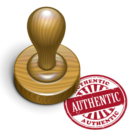 authenticity: illustration of grunge rubber stamp with the text authentic written inside