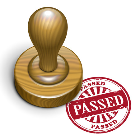 assured: illustration of grunge rubber stamp with the text passed written inside Illustration