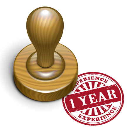 illustration of grunge rubber stamp with the text 1 year experience written inside Vector