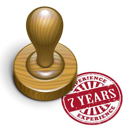rubberstamp: illustrazione di timbro di gomma grunge con il testo 7 anni di esperienza scritto all'interno