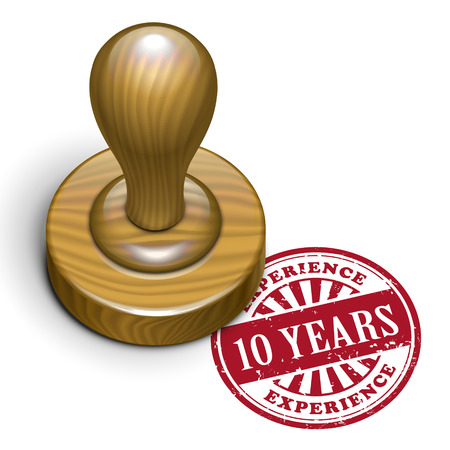 rubberstamp: illustrazione di timbro di gomma grunge con il testo scritto 10 anni di esperienza all'interno