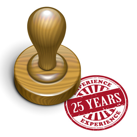 25: illustration of grunge rubber stamp with the text 25 years experience written inside