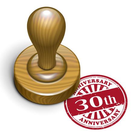 rubberstamp: illustrazione del grunge timbro di gomma con il testo 30 � anniversario scritto all'interno Vettoriali