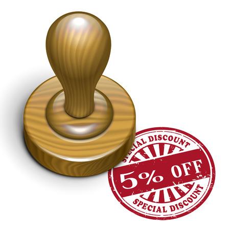 rubberstamp: illustrazione del grunge timbro di gomma con il testo 5 per cento di sconto scritto dentro Vettoriali