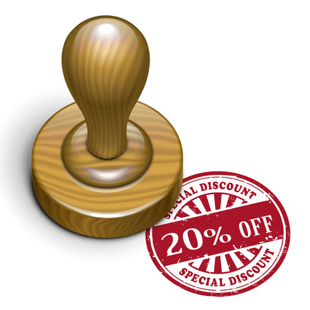 rubberstamp: illustrazione di timbro di gomma grunge con il testo 20 per cento di sconto scritto all'interno