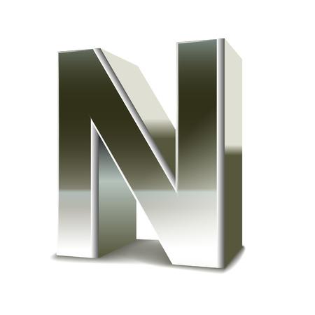 3D Silber Stahl Buchstaben N weißem Hintergrund isoliert