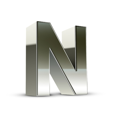 letter n: 3d silver steel letter N isolated white background