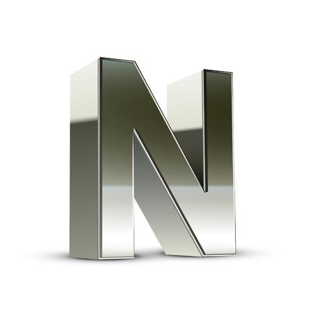 tipos de letras: Carta de acero de plata 3d N aislado fondo blanco