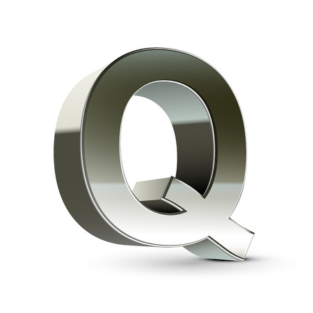 3d silver steel letter Q isolated white background