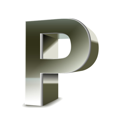 3d silver steel letter P isolated white background Ilustracja