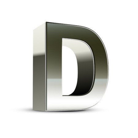 letter d: 3d silver steel letter D isolated white background