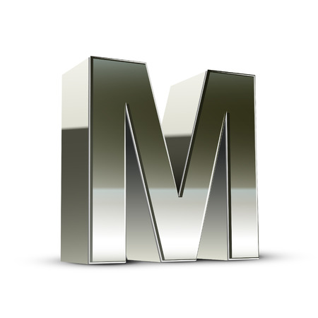 metal letter: 3d silver steel letter M isolated white background