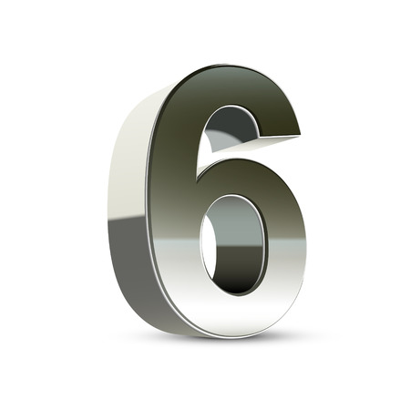 number 6: 3d silver steel number 6 isolated white background Illustration