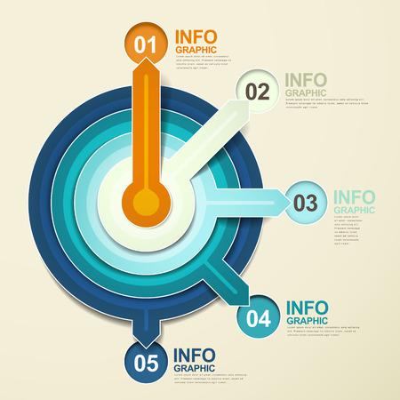 circulos concentricos: los elementos infográficos vector moderno puntero papel abstracta