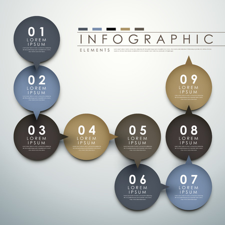 vector abstract circle label  flow chart infographic elements