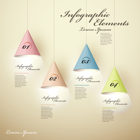 website template: realistic vector abstract 3d luminous chandelier infographic elements Illustration