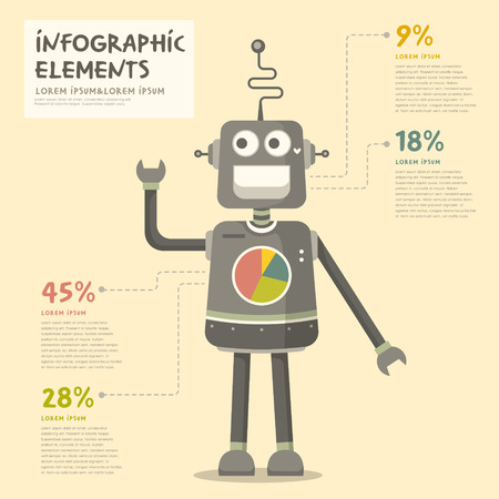 web robot: vector illustration pie chart infographics of cute robot