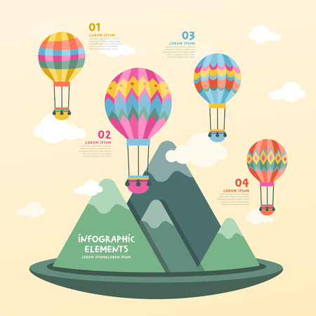 design layout: vector illustration hot air balloon infographics design