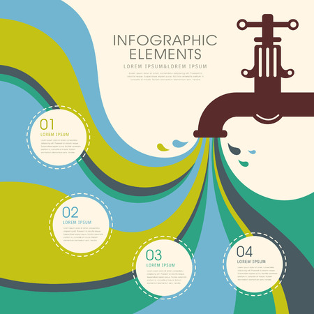 llave de agua: ilustración vectorial abstracto creativo infografía grifo