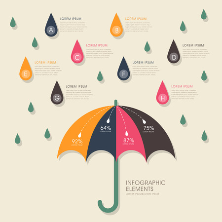 vector illustration abstract umbrella and rain infographics design Vector