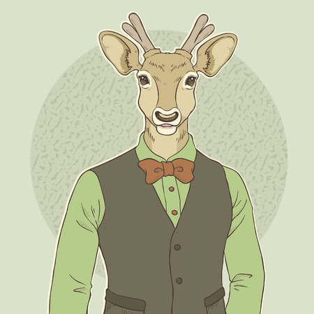 anthropomorphic: retro fashion hand draw vector illustration of deer