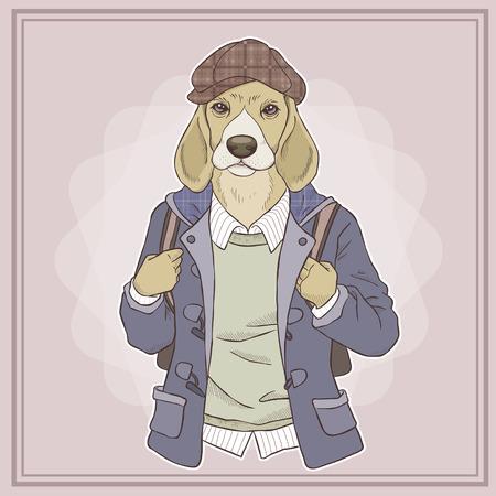 cute cartoon dog: retro fashion hand draw vector illustration of dog Illustration