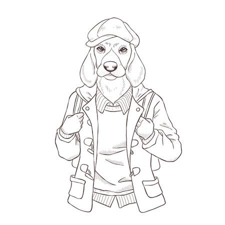anthropomorphic: retro fashion hand draw vector illustration of dog, black and white line