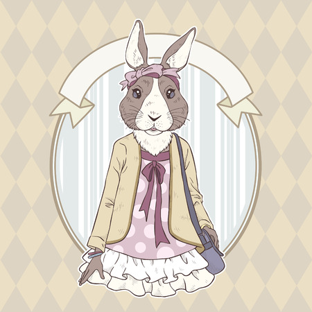 mode retro: retro fashion hand tekenen vector illustratie van konijn
