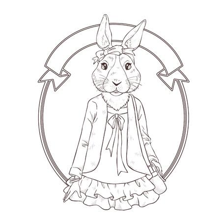 mode retro: retro fashion hand tekenen vector illustratie van konijn, zwarte en witte lijn