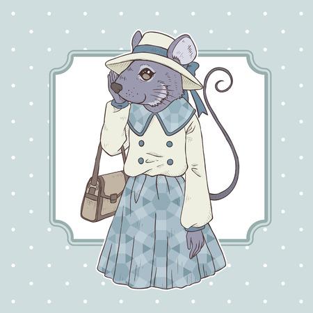 mode retro: retro fashion hand tekenen vector illustratie van de muis