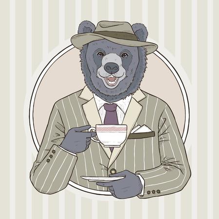 mode retro: retro fashion hand tekenen vector illustratie van de beer