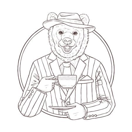 mode retro: retro fashion hand tekenen vector illustratie van de beer, zwarte en witte lijn