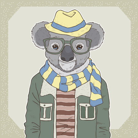 couture retro: la main r�tro illustration de mode de vecteur de tirage de koala