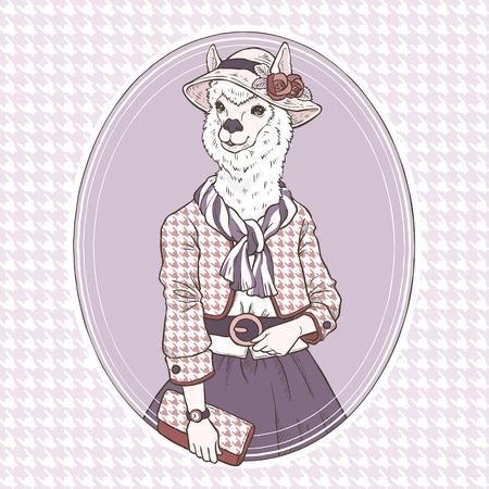 retro fashion hand draw vector illustration of alpaca Vector