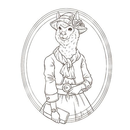 mode retro: retro fashion hand tekenen vector illustratie van alpaca, zwarte en witte lijn