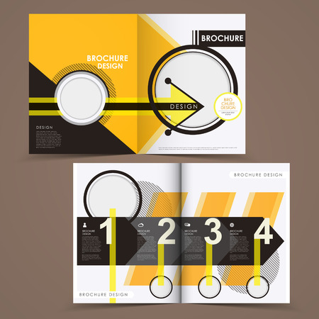 tire cover: template of brochure design with spread pages Illustration