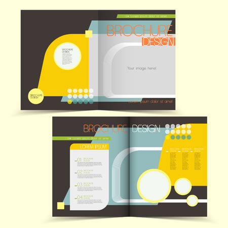typesetting: template of brochure design with spread pages Illustration