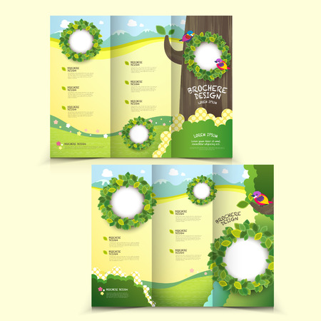 template of brochure design with spread pages Çizim
