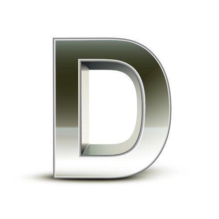 metal letter: 3d silver steel letter D isolated white background
