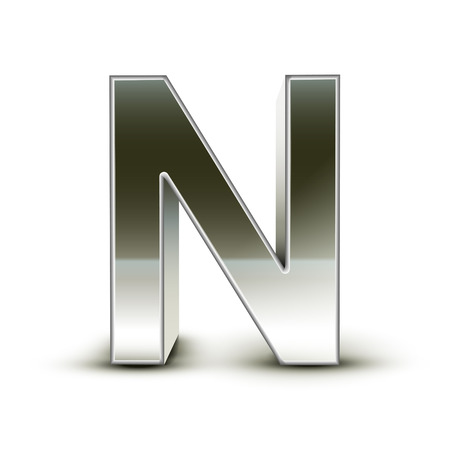 3d silver steel letter N isolated white background