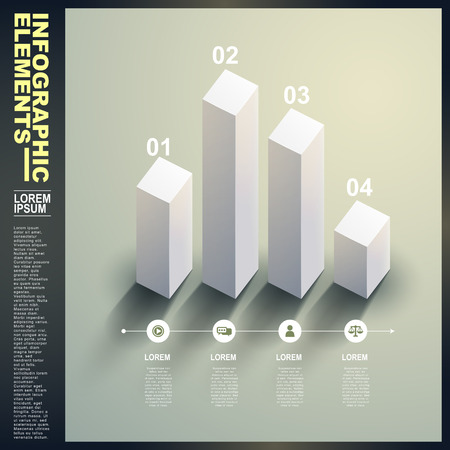 3d vector white statistics template infographic elements Vector