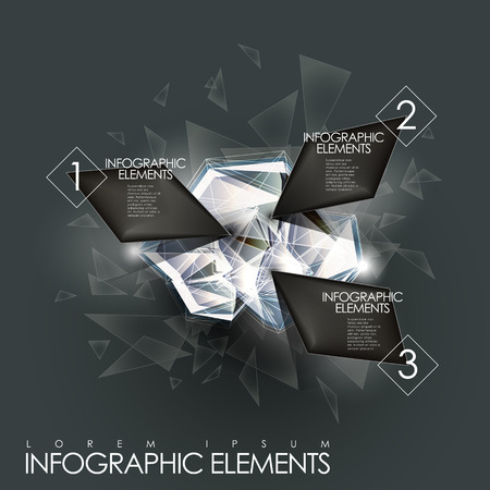 3d modern vector abstract twinkle gem infographic elements Vector