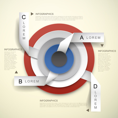 3d vector abstract concentric and tag infographic elements