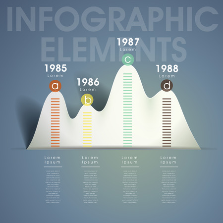 3d modern vector abstract mountain shape chart infographic elements Vector
