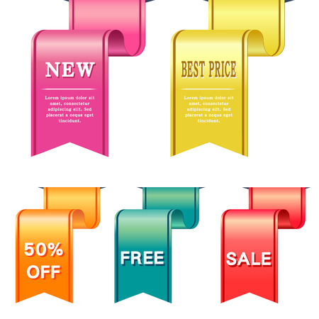 sell off: set of vector labels in different colors
