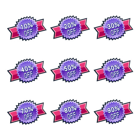 vector purple ribbon discount label elements set Vector