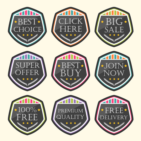 order now: vector business tag set and sale label elements Illustration