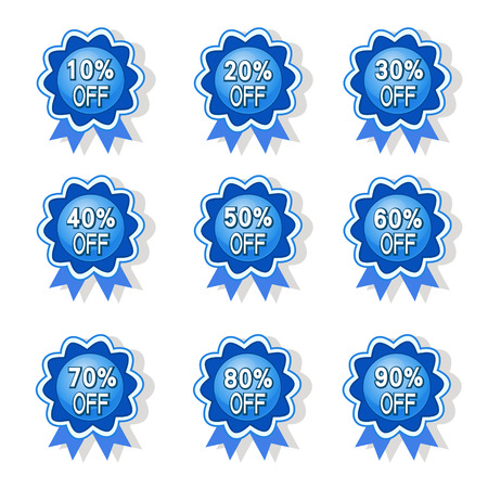 sell out: vector blue ribbon discount label elements set
