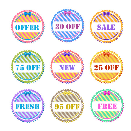 sell out: set of vector labels in different colors
